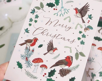 Christmas Card, Woodland Robins with Toadstools and Mistletoe