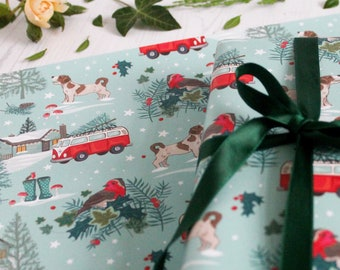 Vintage Style Christmas Gift Wrap with Tag, Camper Van and Christmas Tree Wrapping Paper