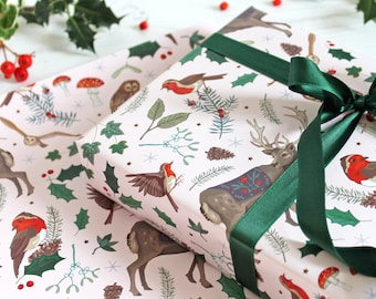 Woodland Wildlife Christmas Gift Wrap with Tag, Festive Reindeer, Owls and Robins Wrapping Paper, Scrapbook Paper