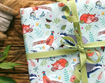 Woodland Gift Wrap, Fox, Badger and Pheasant Wrapping Paper, Gift Wrapping and Scrapbook Paper