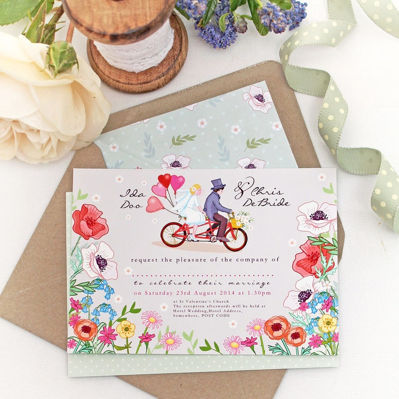 Customised DIY Printable Wedding Stationery Set  Bicycle for image 0