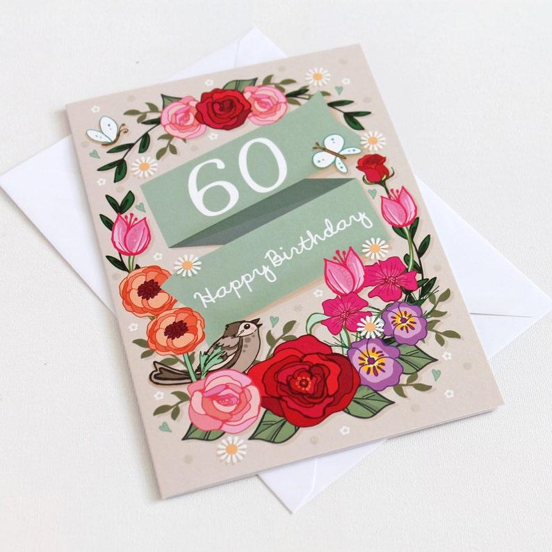 60th Birthday Card Large A5 Female Birthday Card Happy