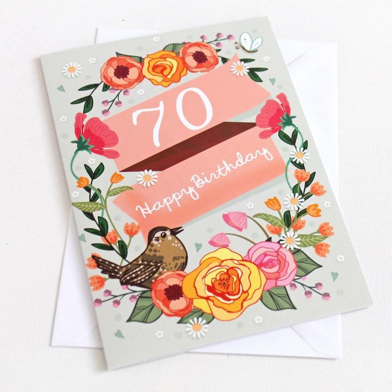 70th Birthday Card Large A5 Female Happy
