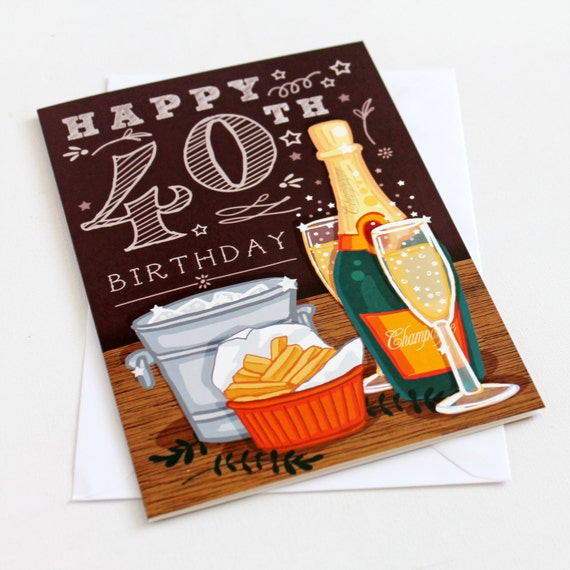 40th Birthday Card For Men Happy 40th Birthday 40th Etsy