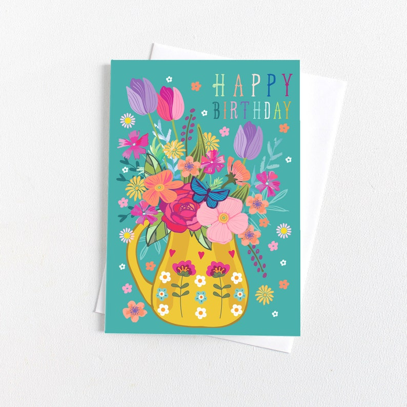 Happy Birthday Floral Cards Greeting Cards Congratulations Card Celebration Cards Birthday Card Set Occasion Card Pack of 8