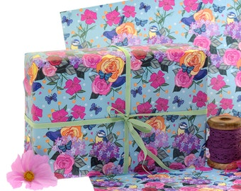 Gift Wrap 2 Pack - Gift Wrapping Paper - Blue Tits - Blackbirds - Roses - British Garden Birds - Birds - Wrapping Paper -  Gift Wrap Paper