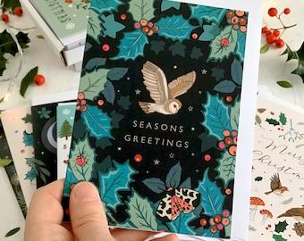 Christmas Card, Barn Owl and Holly
