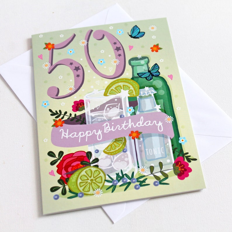50th Birthday Card Large A5 Female