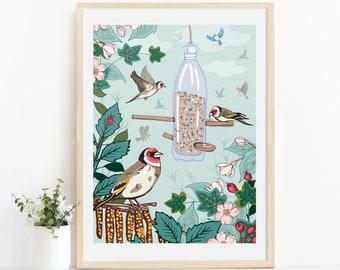 Goldfinches Wall Art Print, Garden Birds Illustration Print