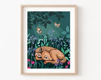Sleepy Fawn Wall Art Print, Bluebell Woodland Animal Illustration Print
