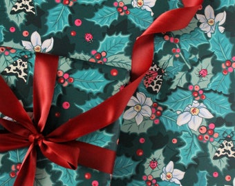 Holly Christmas Gift Wrap with Tag, Holly, Narcissus and Tiger Moths Wrapping Paper