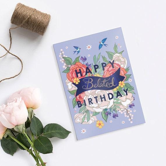 Buon Compleanno In Ritardo Card Carta Di Auguri Di Etsy