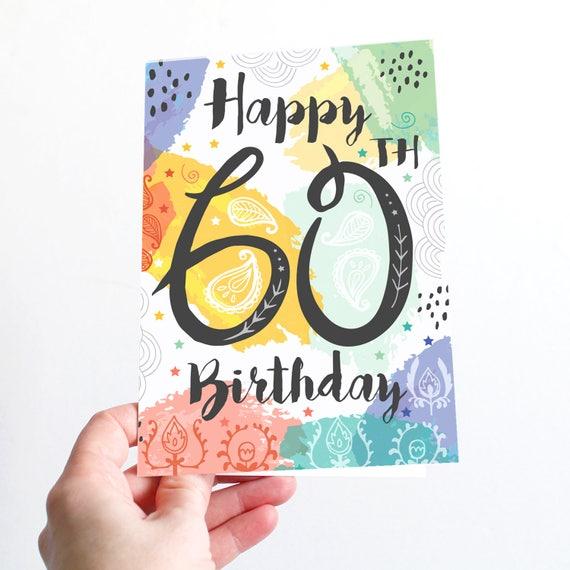 60th Birthday Card Happy Birthday 60 Today Birthday Card Etsy