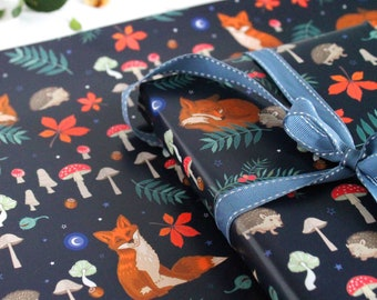 Fox and Hedgehog Gift Wrap with Tag of Hibernating Woodland Animals, Toadstools and Night Sky Wrapping Paper, Scrapbook Paper
