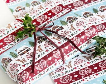Christmas reindeer wrapping paper with tag, Scandinavian woodland gift wrap, hygge design craft paper