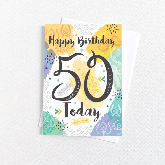 50th Birthday Card Happy 50 Today