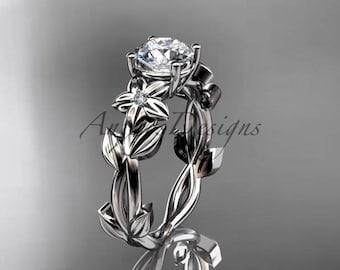 Round Cut Engagement Ring 14k White Gold Moissanite Engagement Ring