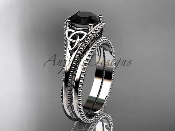 Black Diamond Celtic Knot Wedding Rings Sets 14k White Gold Etsy