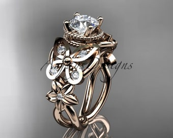 Women's Diamond Butterfly Engagement Ring 14k Rose Gold Unique Moissanite Floral Wedding Gift For Her