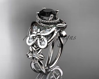 Black Diamond Butterfly Engagement Ring 14k White Gold Nature Inspired Floral Wedding Ring For Her