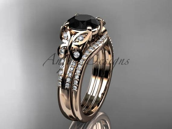 5270d40cfaded Black Diamond Butterfly Ring 14kt Rose Gold Diamond Unique Wedding Ring set  ADLR514S