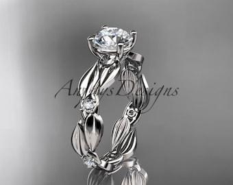 Unique Moissanite Engagement Ring 14k White Gold Vintage Floral Moissanite Ring