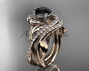 Unique 14kt rose gold diamond leaf and vine wedding set, engagement set with a Black Diamond center stone ADLR222