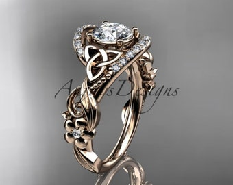 Round Cut Moissanite Engagement Ring Unique Flower Ring 14k Rose Gold Engagement Ring Nature Rings