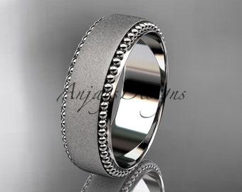14k White Gold Matte Milgrain Wedding Band Simple Men's Women's Gold Engagement Band