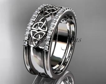 Celtic Wedding Band 14k White Gold Diamond Celtic Trinity Knot Wedding band