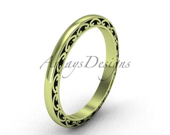 14K Yellow Gold Band 2mm Unique Wedding Band Simple Promise Ring
