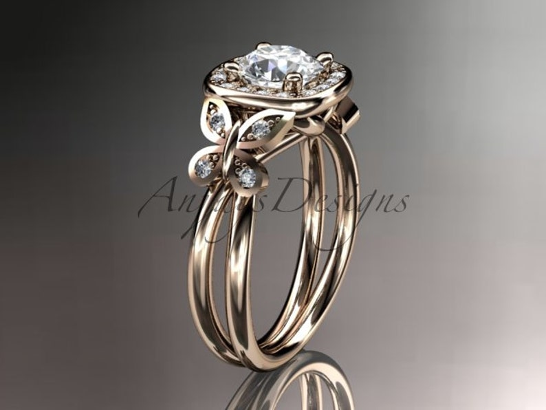 5b971bb3429fc Butterfly Wedding Ring - 14kt Rose Gold Diamond Unique butterfly Engagement  Ring - Wedding Ring ADLR330