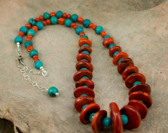 Turquoise and Graduated Coral necklace with Sterling Silver clasp and extension