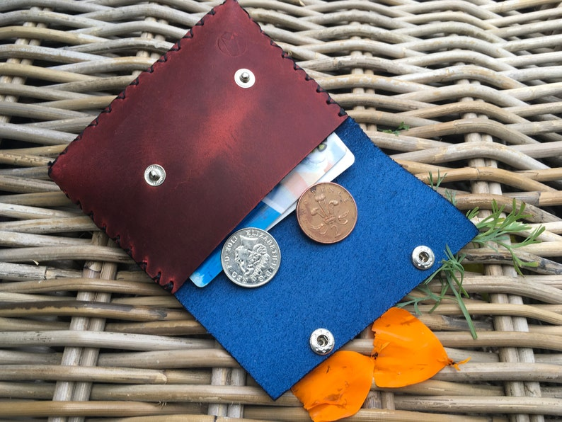 Handmade handstitched 2-colour navy blue and red leather ladies money coin purse Gift for HER Can be Personalised