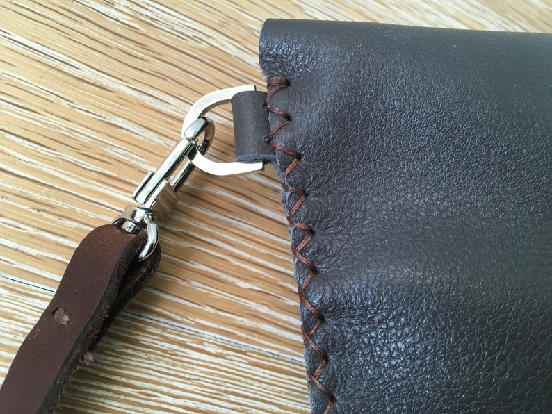 Handmade handstitched soft grey leather crossbody bag with brown stitch and brown strap