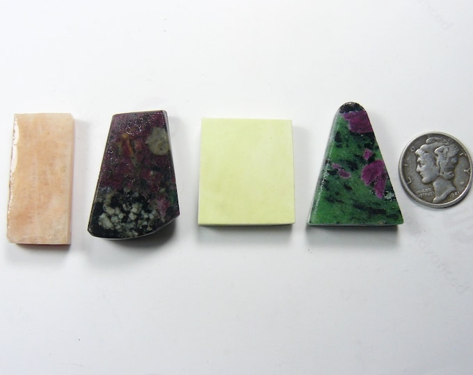 4 Preformed rough slabs, lot of 4 natural stones, Pink Peruvian Opal, Eudialyte, Lemon Chrysoprase, Ruby Zoisite  (rs41012)