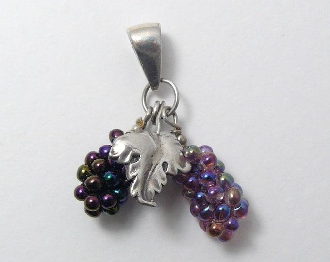 Purple Grape beads and SS Oak leaf pendant, handsewn glass beads, resembling grapes j6202)