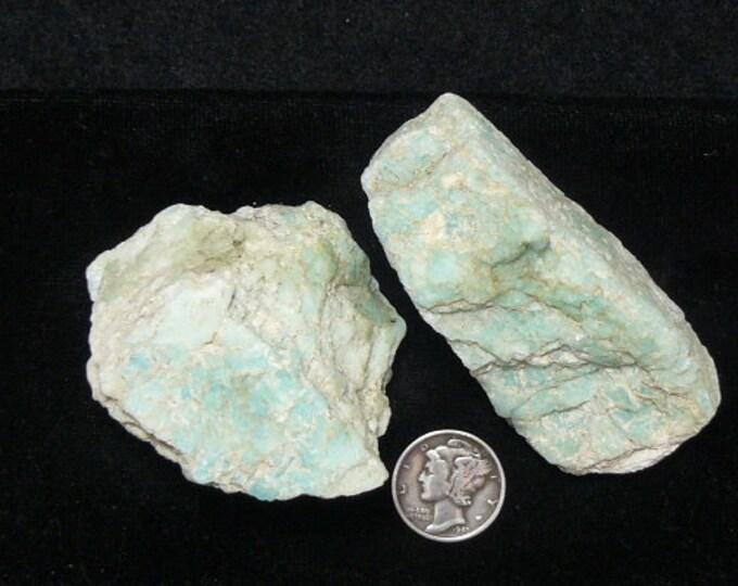 """Amazonite rough chunks, 2 1/2""""x 1"""" & 2  x 1 1/2"""",blue feldspar, from Brazil, natural feldspar albeit (rc91804)"""