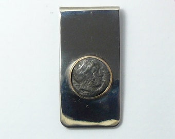 Ancient Bronze Greek coin, Apollo coin money clip, stainless steel money clip (c6106)