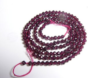 """2) 12"""" Red Garnet bead strands, beautiful full strands of 4x4 mm micro faceted beads. 2 strand lot.  (b31312)"""
