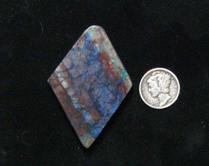 Shattuckite rough spiderweb preformed slab, 36 x 52 x 8 mm, rare unique from Arizona  (rs122407)