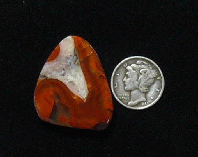 Apache agate preformed rough slab, 26 x 30 x 6 mm, red and white translucent stone, rare (rs11112)