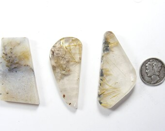 3 rutilated quartz preformed slabs, translucent, natural stone, finish for cabs or specimens (rs41311)