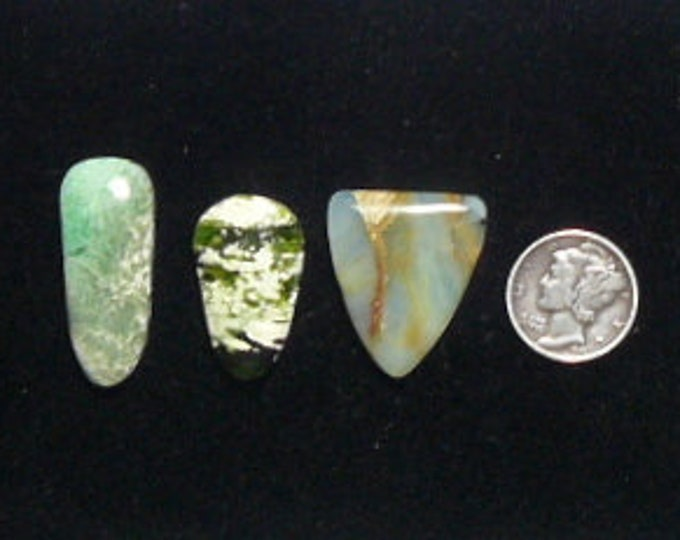 3 Designer Cabochons, lot of 3,  natural, finished all sides, Variscite, Chrome Chalcedony, Peruvian Opal (c71202)