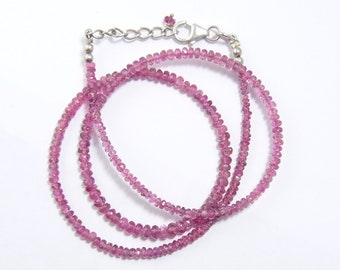 """Pink 2-3 mm Tourmaline natural faceted rondelle beaded necklace,  17"""" to 18"""" adjustable, SS lobster claw with SS chain & bead (n3911)"""