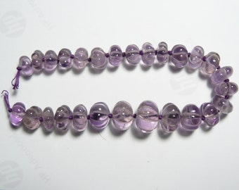 """Carved Melon shaped Amethyst beads for 7"""" bracelet, AAA grade beads, carved melon shape, 27 beads, 4 sizes of beads,   (b72911)"""