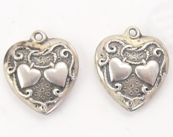 2 Vintage Sterling Silver Walter Lampl puffy heart charms, Eternal Knot, marked sterling and hallmarked, beautiful condition  (s71811)