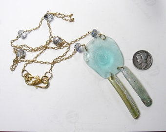 """Ancient Roman Glass Necklace, 20"""" hand made gold fill chain, 14"""" length,  (j91602"""