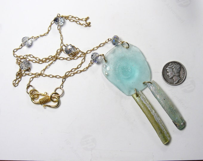 "Ancient Roman Glass Necklace, 20"" hand made gold fill chain, 14"" length,  (j91602"