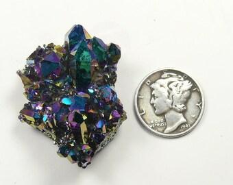 Aurora Azotic natural Arkansas crystal clusters, Rainbow color, lab technology (aq83001)